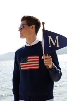 Ralph Lauren Stars and Stripes Jumper. New England Prep, Preppy Boys, Ivy League Style, Ivy Style, Preppy Mens Fashion, Ralph Lauren, Prep Style, Le Male, Well Dressed Men