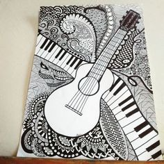 #Zentangle 8, Guitarra Art Drawings Beautiful, Cool Art Drawings, Pencil Art Drawings, Music Drawings, Art Drawings Sketches, Doodle Art Drawing, Mandala Drawing, Easy Doodle Art, Mandala Art Lesson