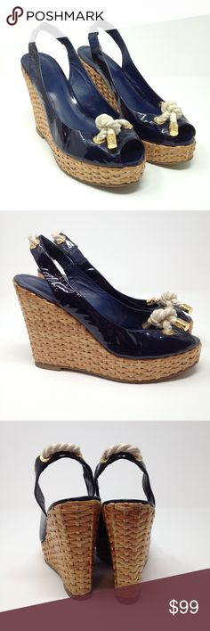 "Tory Burch Shea Blue Leather Espadrille Wedges 10 Tory Burch Women's Wedges Shea Slingback Nautical Rope Blue Patent Leather Wicker Espadrille Heels  Type: Heels Style: Wedges / Slingback / Peep Toe / Wicker Espadrille / Nautical Thick Rope Style Name: Shea Brand: Tory Burch Size: 10 / 10M Heel Height: 4.5"" Material: Leather Upper / Leather Lining / Man Made Sole Color: Blue Patent Leather / Brown Wicker / Cream Rope / Gold Metal Accents Condition: Great, Preowned Condition Country of…"