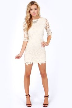 "You can bet your pretty penny that you (and everyone you know) will fall in love with the Darling Jenny Cream Lace Sheath Dress! A rounded neckline proves a beautiful beginning to this floral crocheted lace dress, with gracefully sheer three-quarter sleeves. A sheath shape is classy and fun, while an exposed back zipper adds a subtle edge. Body of dress is lined. Model is 5'8"" and is wearing a size x-small. 100% Polyester. Hand Wash Cold."