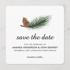 Watercolor Pine Branch Winter Save the Date Woodland Wedding, Rustic Wedding, Christmas Wedding, Fall Wedding, Tent Wedding, Green Wedding, Wedding Ceremony, December Wedding Dresses, Pine Branch