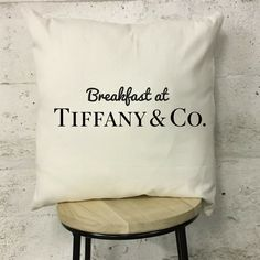 """Breakfast at Tiffany Quote Inspiration Cream and Black Printed Cotton Luxury Cushion. Includes Cushion Pad. Size: 17"""" x 17"""".   eBay!"""