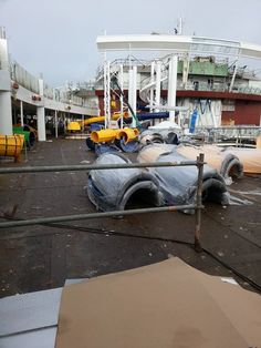 Older photo of the Harmony of the Seas' Perfect Storm water slide sections January 2016
