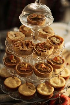 A delicious way to offer an array of tarts....add a little green and red...you have instant Christmas.....