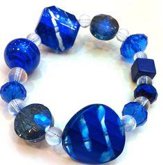 Cobalt Blue Beaded Stretch Bracelet via Etsy