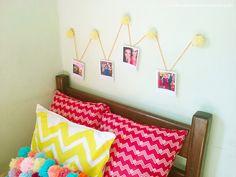 DIY - Decoração do quarto com pompons   Varal de fotos com pompons!