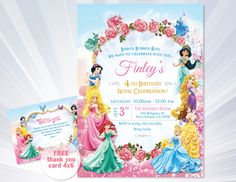 Princess Invitations - Princess Birthday Party Invitations - princess birthday party - girl invitation - Disney Princess Invitation by ABCSongShop on Etsy