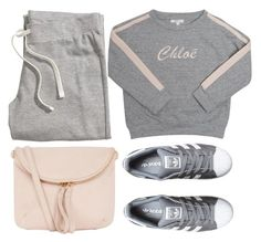 A fashion look from August 2017 featuring gray sweatshirt, h&m sweatpants and adidas originals sneakers. Lazy Day Outfits, Trendy Outfits, Adidas Originals, Polyvore Fashion, Outfit Of The Day, Chloe, Sweatpants, Shoe Bag, My Style
