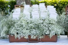 Escort cards + Baby´s Breath - Vintage French Country Wedding from La Fete Weddings + Stephanie Hogue Photography