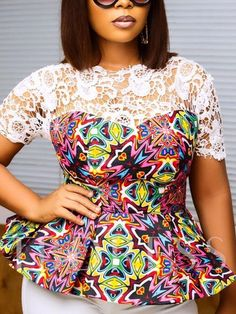 Hello beautiful Fashionistas and fashion lovers,due to popular demand we bring you our latest and most trendy peplum Ankara skirt and blouse for all events.They come in different designs and styles fo African Blouses, African Lace Dresses, Ankara Dress Styles, African Dresses For Women, African Attire, Ankara Tops, Ankara Skirt, Blouse Styles, African Fashion Ankara
