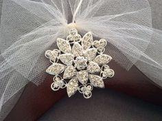 Silver Flower Jeweled Bridal Hanger, Personalized Wedding Dress Hanger,  Bridal Shower,