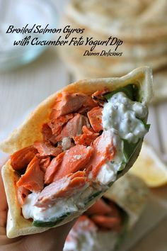 Broiled Salmon Gyros with Cucumber Feta Yogurt Dip | This makes more sauce than needed. But, that's okay: it's so good that I could eat it straight the next day. Also, half to two thirds of an English/seedless cucumber is a good substitute for Persian cucumber.