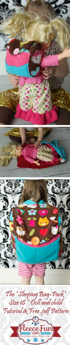 How to Make a DIY doll sleeping bag backpack (with FREE Pattern)!  A Perfect Christmas gift for a child who loves dolls.