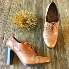 """J. Crew Langford leather high heel Oxford Italian leather. Feminine version of the wing tip Oxford featuring a 3 3/4"""" stacked heel and 3/8"""" exterior platform.  Worn only a couple of times. These are in excellent condition! J. Crew Shoes Ankle Boots & Booties"""