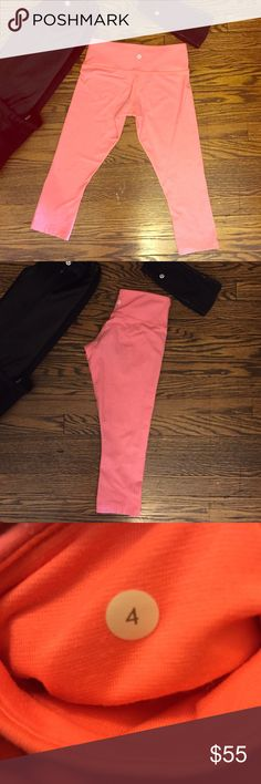 Lululemon coral wunder under Super cute! These coral pin stripe Lululemon 3/4 wunder under pants. In good condition, some pilling in the crotch area. No stains. Size 4 lululemon athletica Pants Leggings