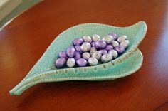 Mid Century Mint Green Leaf Shaped Dish, California Pottery Speckled Aqua Gold Candy Nut Trinket Dish Large Robins Egg Blue Ashtray Gift - SOLD! :)