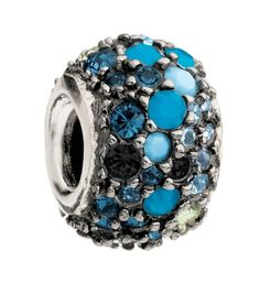 CHAMILIA BEADS ON SALE - Blue and Black Swarovski Crystal Jeweled Kaleidoscope Bead in Sterling only $35.00 - CZ And Crystal Charm Beads