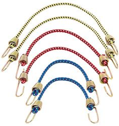 Yellow /& Blue Green 3 pack 48 Bungee Cords With Stretched Rubber Coated hooks