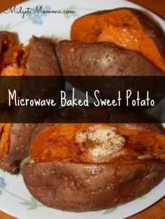 Easy to make Baked Sweet Potato. No oven needed to get the amazing flavor with these microwave Baked Sweet Potatoes Microwave Baking, Microwave Recipes, Cooking Recipes, Vegetable Dishes, Vegetable Recipes, Vegetarian Recipes, Sweet Potato Recipes Healthy, Healthy Recipes, Healthy Dinners