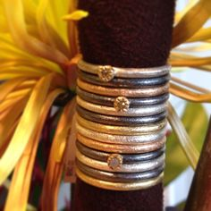 """""""These adorable stacking rings are the perfect stocking stuffer gift!!! Available in an assortment of metals from our showroom through the holidays! #showmeyourrings #saturdaystack #ringstacks #toddreedjewelry #intheshowroom"""""""