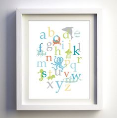 Baby nursery wall decor Ocean creatures alphabet