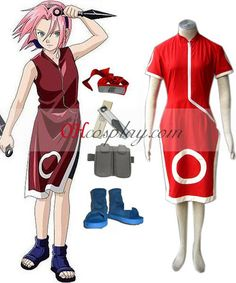 Naruto Haruno Sakura 1st Cosplay Costume Set