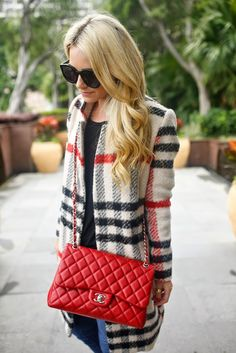 Burberry and Chanel Karen Walker, Chanel Jumbo Flap Bag, Chanel Purse, Parka, Plaid Coat, Plaid Jacket, Burberry Women, Red Purses, Burberry Handbags