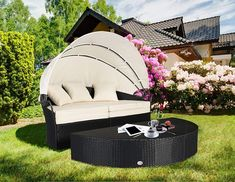 Round Circular Retractable Canopy Daybed with Ottoman, Black