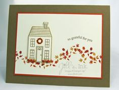 Clean and Simple Thanksgiving Card created with the Holiday Home Stamp Set and Homemade Holiday Framelits Bundle www.JillsInk.com