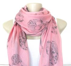 Skull Scarf Pink and Gray Skull Large Fashion Scarf on Etsy, $14.90