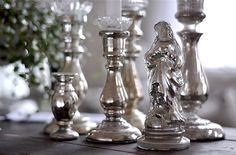 Vintage chic: Gammel madonna i fattigmannssølv/ mercury glass Mary
