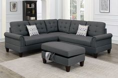 Poundex F6474 3 pc Biloxi II charcoal polyfiber fabric sectional sofa and storage ottoman
