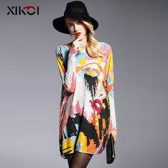 Fashion Batwing Sleeve Print Slash Neck Women Sweater