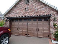"""Turn a plain ol' garage door into """"wood"""" carriage doors with just paint and hardware - pergola is great too Cheap Garage Doors, Metal Garage Doors, Carriage Garage Doors, Garage Door Hardware, Diy Garage Door, Garage Door Makeover, Metal Garages, Garage Door Design, Diy Door"""