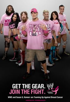 The WWE is going pink with Susan G. Komen in an expansion of the Rise Above Cancer campaign. WWE superstars are wearing pink for the campaign. Breast Cancer Support, Breast Cancer Awareness, Wwe Events, Brock Lesnar Wwe, Susan G Komen, Wrestling Stars, Wwe Girls, Wwe Tna, Go Pink