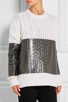 bae91a0394 McQ Alexander McQueen - Glitter-coated cable-knit wool sweater