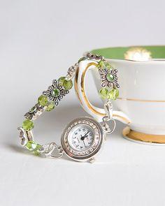 Green Peridot Swarovski beaded watch by SweptAwaySeaglass on Etsy