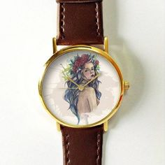 Girl with Floral Crown Watch Watches for Men Women Leather Flower Ladies Vintage Style Jewelry Accessories Gifts Spring Fashion Unique Boho