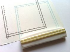 sewing stitch rubber stamp. border rubber stamp. pattern stamp. hand carved rubber stamp.