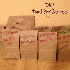 Travel Bags Great ideas for any road trip. Will put some of these in place for trip with Grandkids next month.