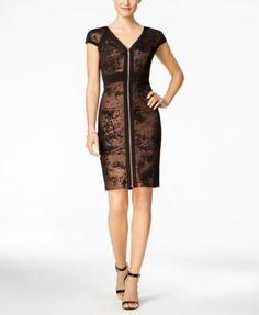 6877fd155b5 JAX Metallic Zip-Front Sheath Dress Women - Dresses - Macy s