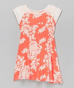 Look what I found on #zulily! Orange Flower Dress - Toddler & Girls #zulilyfinds
