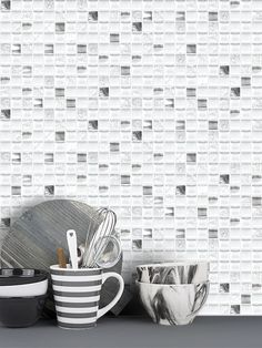 White glossy matte and crackle glass tiles mixed with metal tiles. White glass metal kitchen backsplash tile for elegance idea. Metal Tile Backsplash, White Kitchen Backsplash, Kitchen Tiles, Backsplash Ideas, Glass Kitchen, Glass Tiles, Kitchen Redo, Tile Ideas, Kitchen Design