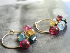 Jewelry Stunning Tourmaline Dangle Earrings Gift for by wulfgirl, $38.00