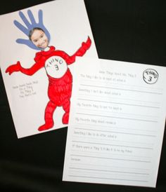 Dr. Seuss activities: FREE Seuss writing prompts: This is the cover for the booklet: Things About Me.  Students answer 6 writing prompt questions. This is a nice review of Standards, & a fun way to learn more about your students.