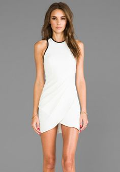 White Noise Draped Body Con Dress in Ivory