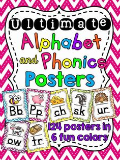 Alphabet Posters - alphabet posters and phonics sound posters that are super fun and colorful - in 6 fun colors to hang around your room!Each of the 124 posters come in 6 different colors posters total) so you can mix and match them however you want to! Reading Fluency, Teaching Reading, Teaching Ideas, Reading Tutoring, Primary Teaching, Teaching Phonics, Reading Response, Reading Intervention, Reading Skills