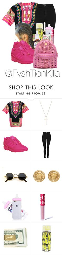 """""""Untitled #186"""" by fvshtionkilla ❤ liked on Polyvore featuring Tiffany & Co., adidas, Topshop, Versace, Lime Crime, Maybelline, Palmer's and MCM"""
