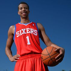 Michael Carter-Williams of the Philadelphia 76ers poses for a portrait during the 2013 NBA Rookie Photo Shoot on August 6, 2013 at the MSG Training Facility in Tarrytown, New York. (Photo by Jesse D. Garrabrant/NBAE via Getty Images)