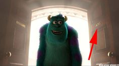 """It says """"A113"""", just like this door number in Monsters University. 
